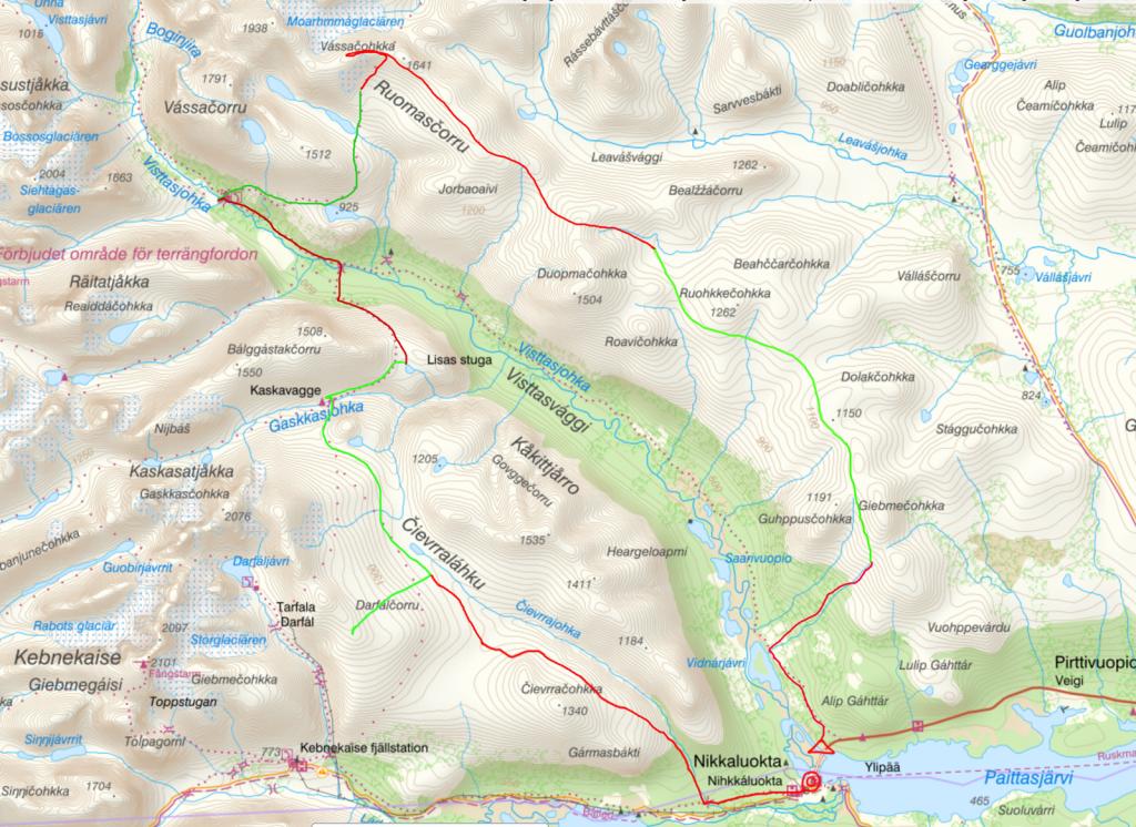 Nikkaluokta-Kebnekaise-Vistas-kartta-reitti